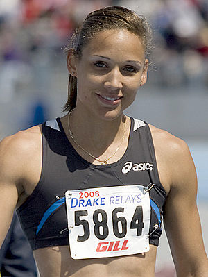 English: Lolo Jones after winning the women's ...