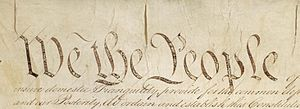 English: Detail of Preamble to Constitution of...