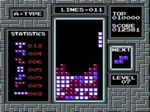 Screenshot of the official NES version of Tetris.
