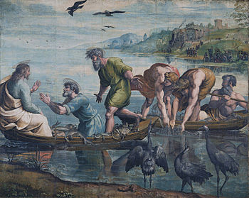Jesus and the miraculous catch of fish, in the...