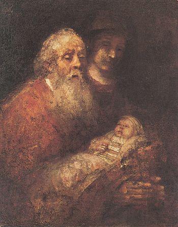 Rembrandt Simeon houdt Jesus vast