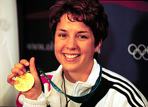 Nancy Johnson with her Olympic gold medal