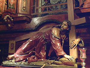 Christ fallen while carrying the cross, at St....