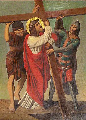 Português: Jesus é auxiliado por Simão Cireneu...
