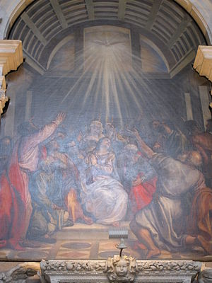 The decent of the holy spirit by Tizian (1546)