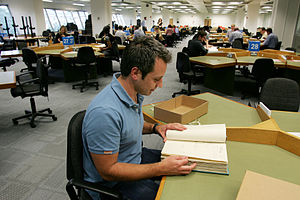 English: A researcher at The National Archives...