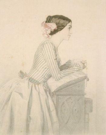 Vincent Vidal (1811-1887): Young lady saying t...