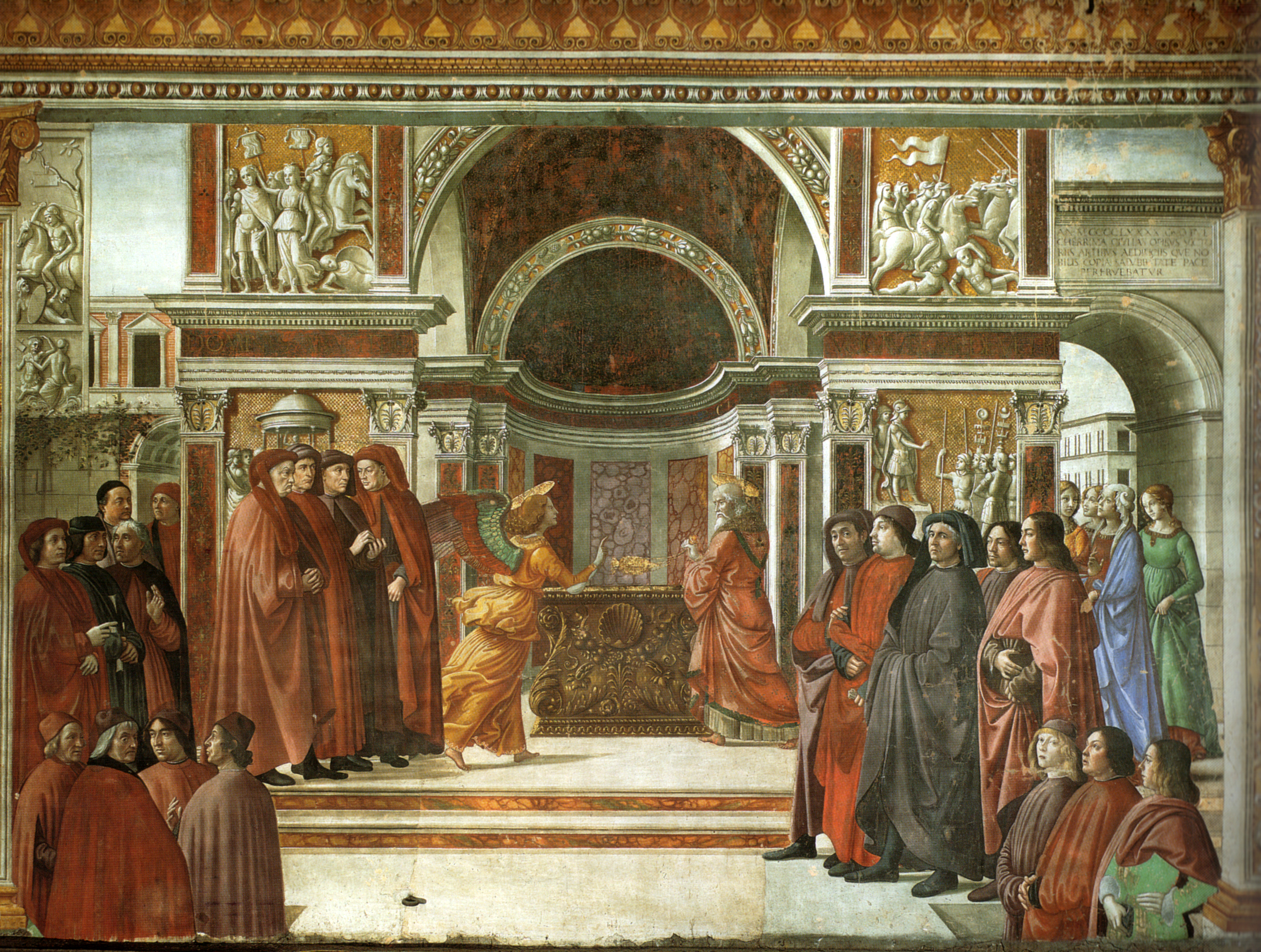 Cappella tornabuoni frescoes in Florence. Annu...