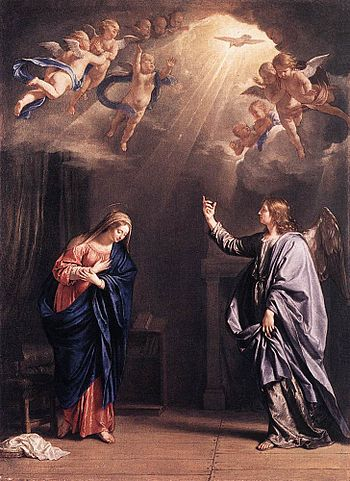The Holy Spirit as a dove in the Annunciation,...